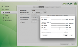 CrashPlan Delete Settings